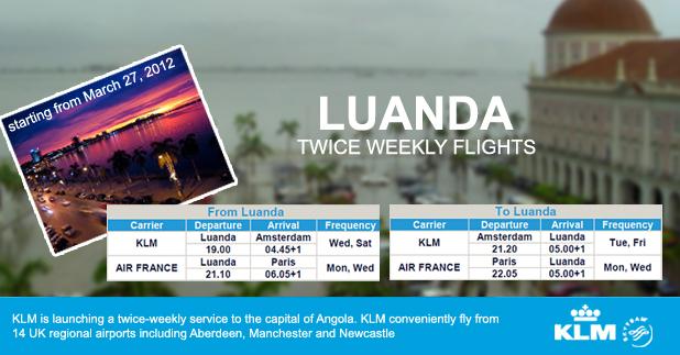 KLM special offers for Luanda